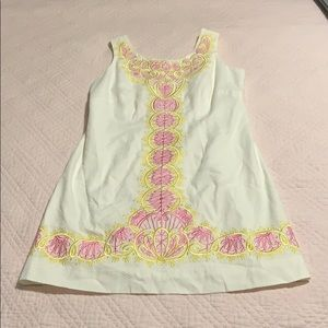 Lilly Pulitzer shift with pink & gold embroidery.